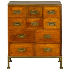 English 1840s Mahogany, Pine and Brass Campaign Chest on Custom Iron Stand