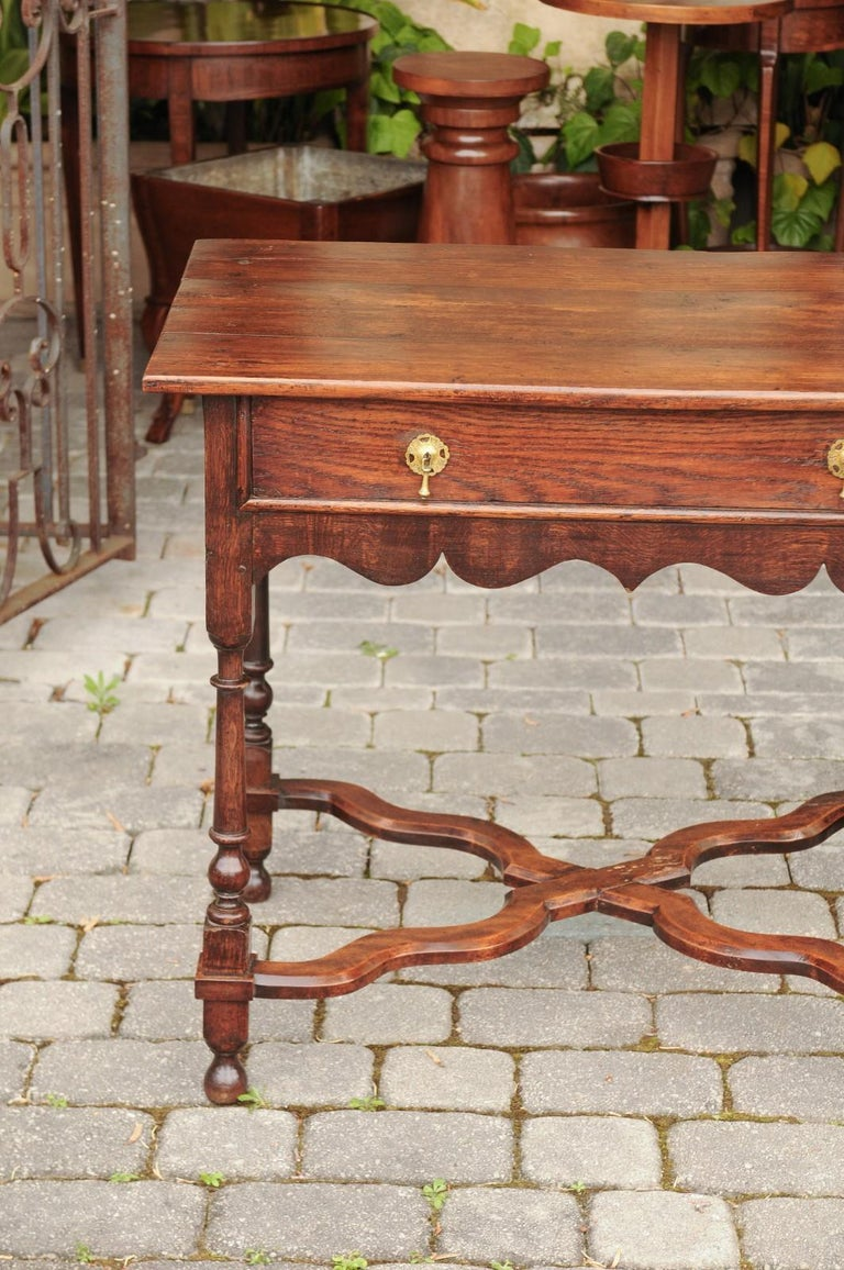 English 1840s Oak Side Table with Turned Legs and Curving X-Form Cross Stretcher 7
