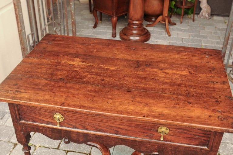 English 1840s Oak Side Table with Turned Legs and Curving X-Form Cross Stretcher 9