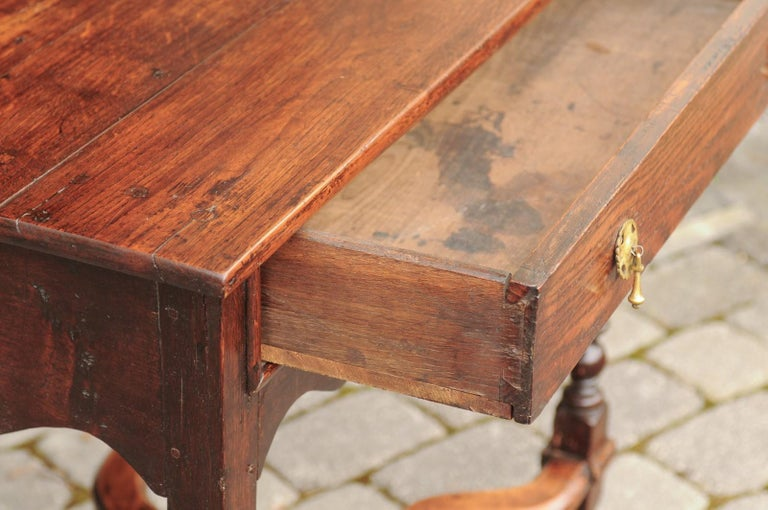 19th Century English 1840s Oak Side Table with Turned Legs and Curving X-Form Cross Stretcher