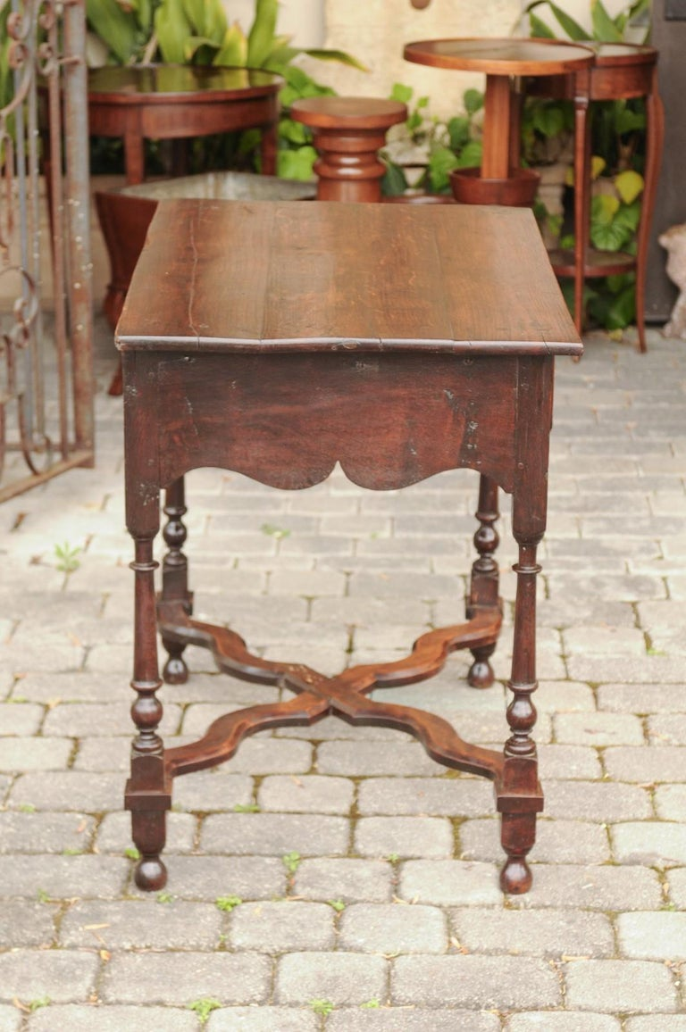 English 1840s Oak Side Table with Turned Legs and Curving X-Form Cross Stretcher 1