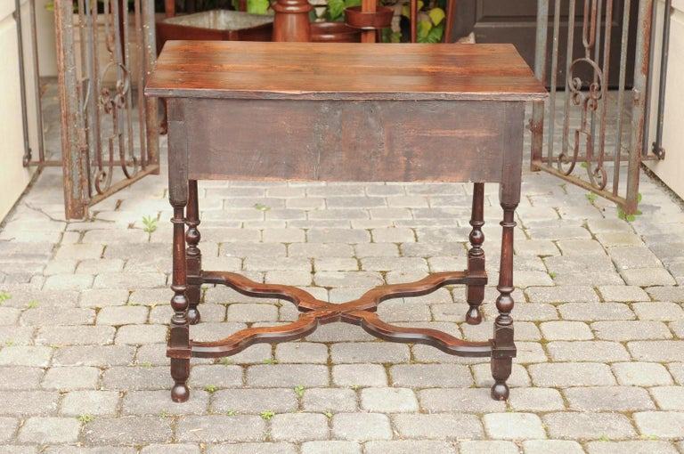 English 1840s Oak Side Table with Turned Legs and Curving X-Form Cross Stretcher 2