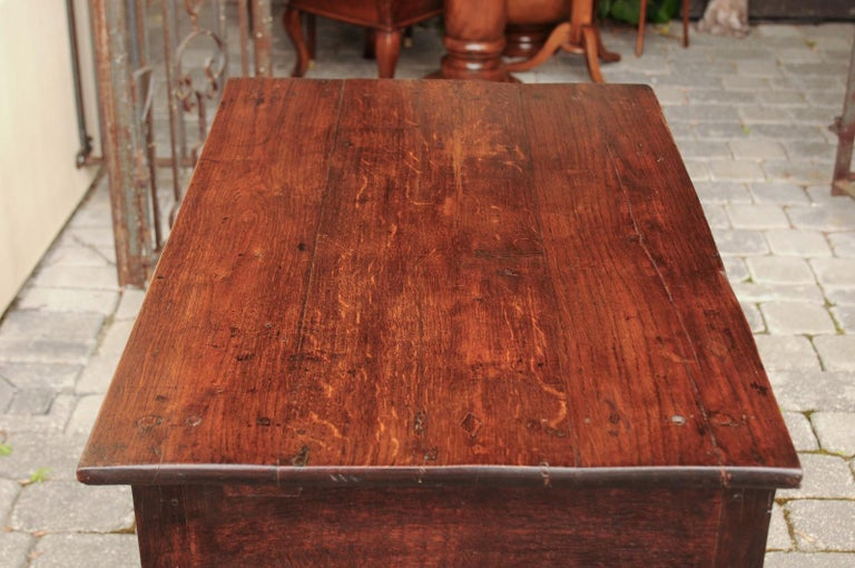 English 1840s Oak Side Table with Turned Legs and Curving X-Form Cross Stretcher 4