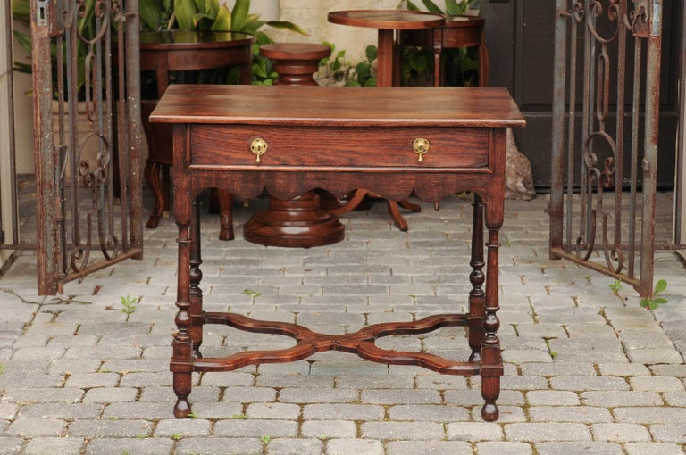 English 1840s Oak Side Table with Turned Legs and Curving X-Form Cross Stretcher 5