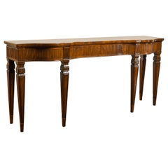 English 1850s Mahogany Console Table with Fluted Apron and Tapered Legs