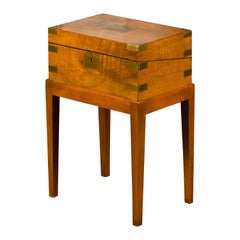 English 1850s Mahogany Lap Desk Box on Custom Stand Fitted with Black Leather