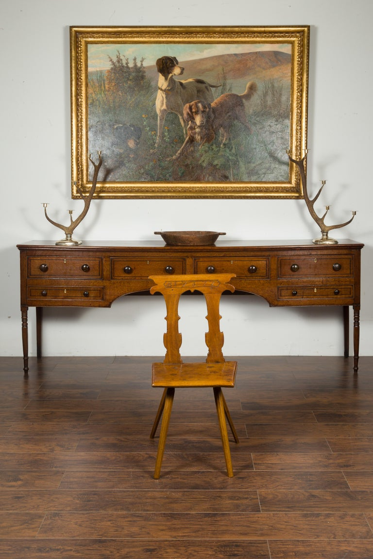 19th Century English 1850s Oak Chair with Pierced Back, Carved Inscription and Wooden Seat For Sale