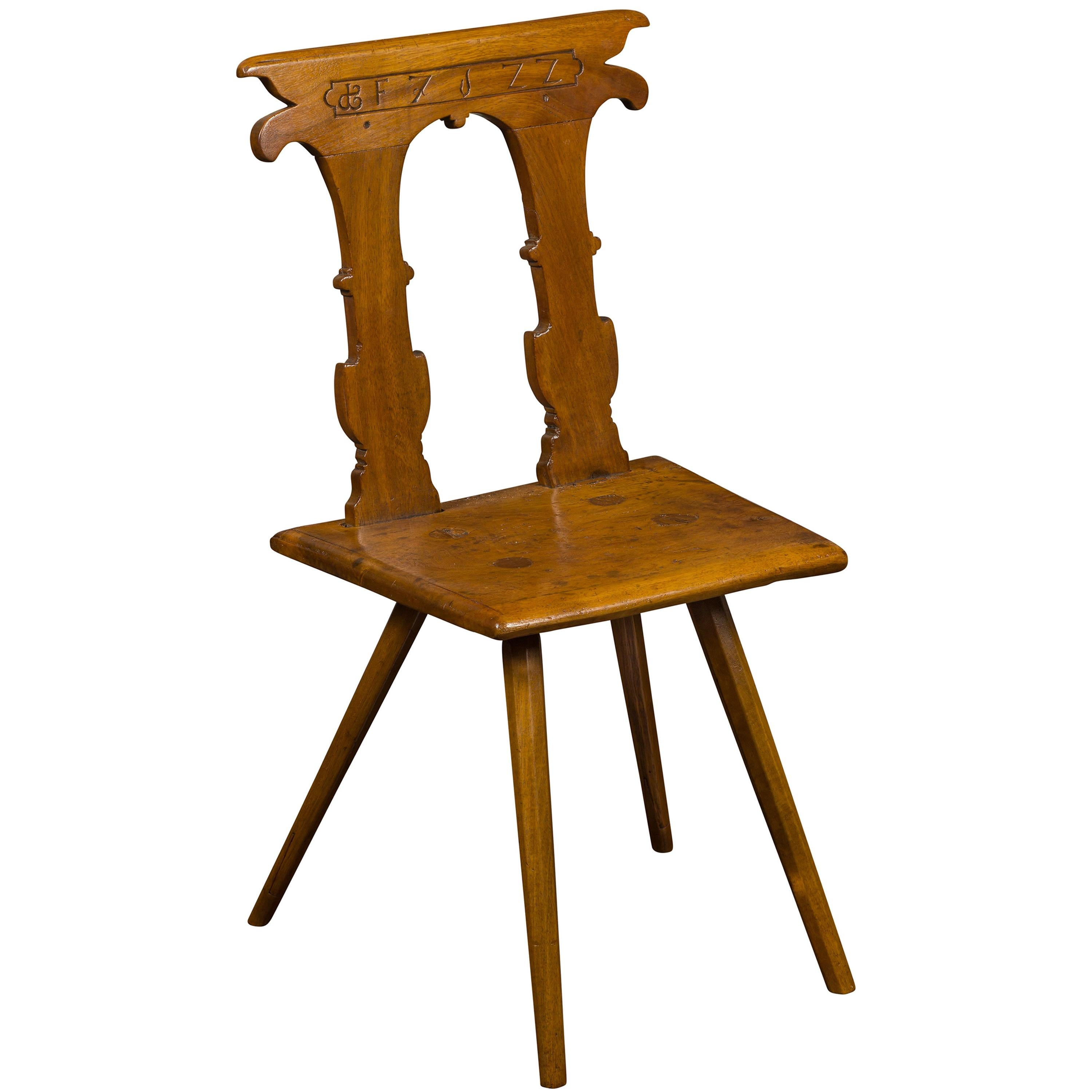 English 1850s Oak Chair with Pierced Back, Carved Inscription and Wooden Seat