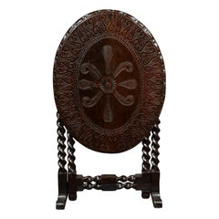 English 1850s Oak Gate Leg Oval Table with Carved Decor and Barley Twist Base