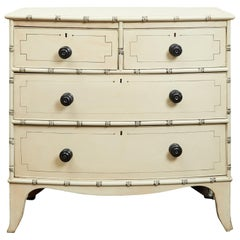 English 1850s Painted Wood Four-Drawer Bow Front Chest with Faux Bamboo Motifs