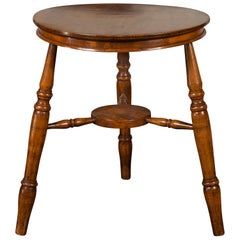 English 1860s Cricket Table with Turned Legs and Circular Sycamore Top