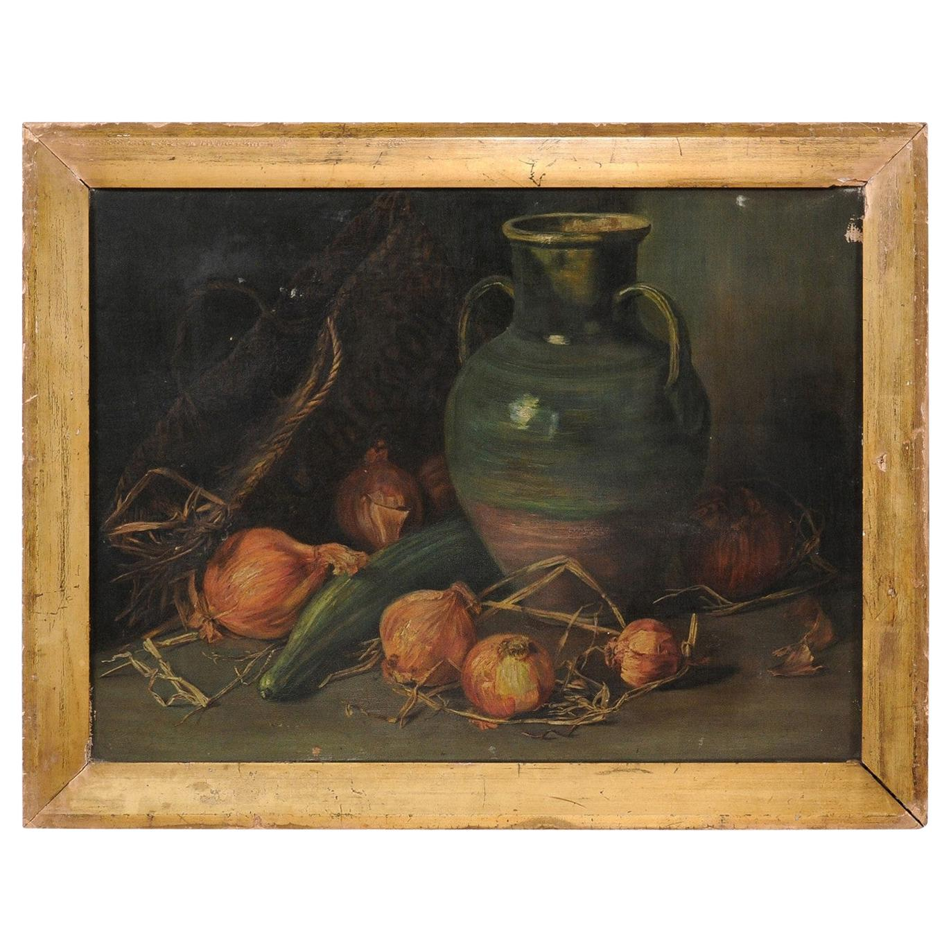 English 1860s Framed Oil on Canvas Still-Life Painting by George Jackson