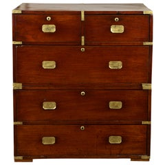 English 1860s Mahogany Campaign Chest with Small Desk Area and Brass Hardware