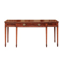 English 1860s Neoclassical Style Mahogany Breakfront Sideboard with One Drawer