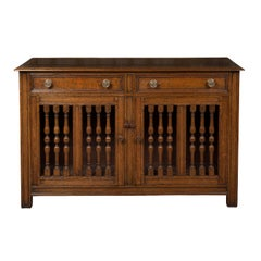 English 1860s Oak Buffet with Two Drawers, Two Doors and Baluster Motifs