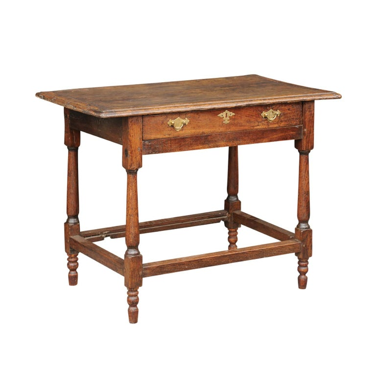 English 1860s Oak Side Table with Drawer, Turned Baluster Legs and Stretcher