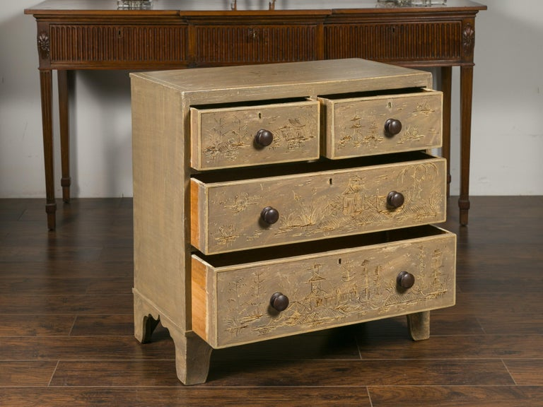 English 1860s Painted Chinoiserie Four-Drawer Chest with Ogee Bracket Feet For Sale 6