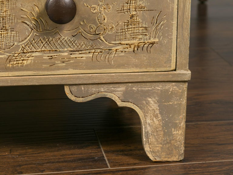English 1860s Painted Chinoiserie Four-Drawer Chest with Ogee Bracket Feet For Sale 7