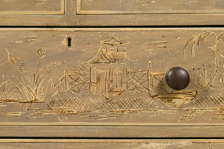 English 1860s Painted Chinoiserie Four-Drawer Chest with Ogee Bracket Feet For Sale 8