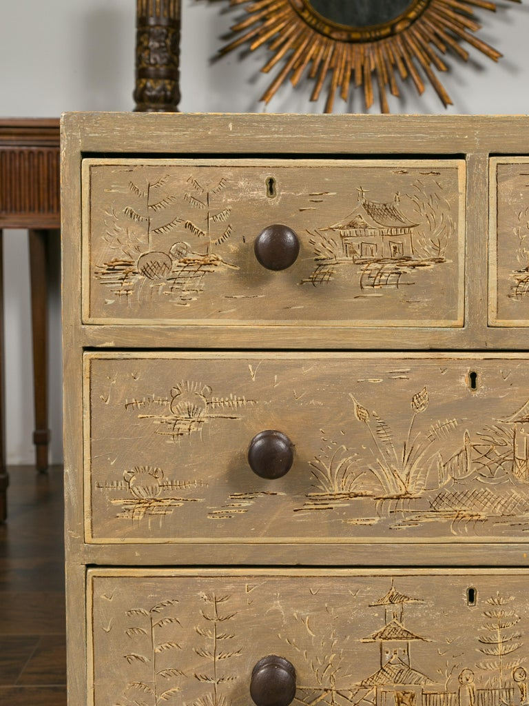 English 1860s Painted Chinoiserie Four-Drawer Chest with Ogee Bracket Feet For Sale 10