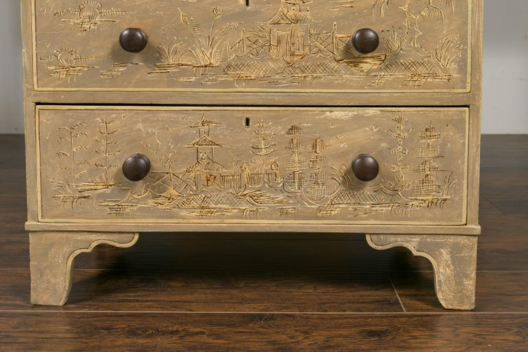 English 1860s Painted Chinoiserie Four-Drawer Chest with Ogee Bracket Feet For Sale 11