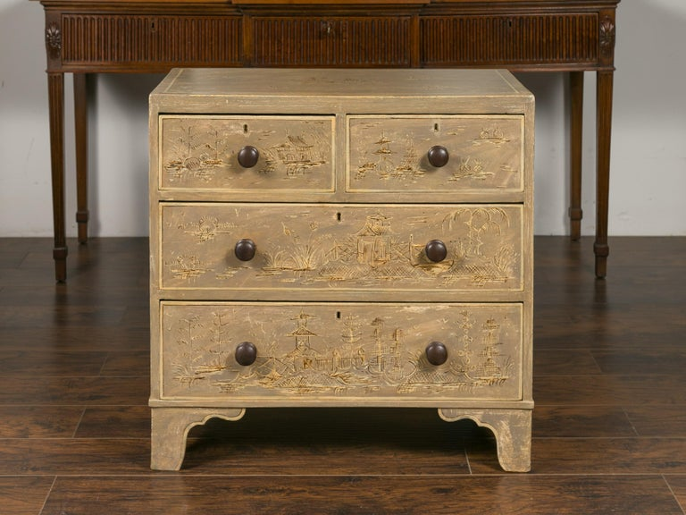 English 1860s Painted Chinoiserie Four-Drawer Chest with Ogee Bracket Feet For Sale 12