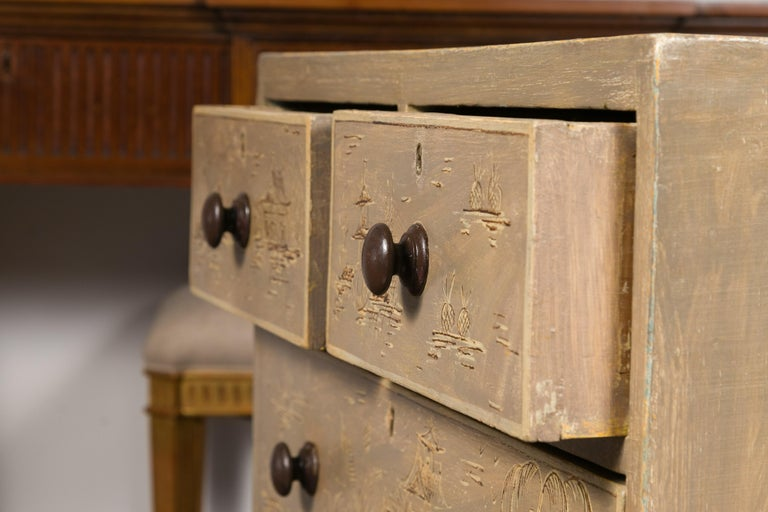 English 1860s Painted Chinoiserie Four-Drawer Chest with Ogee Bracket Feet In Good Condition For Sale In Atlanta, GA