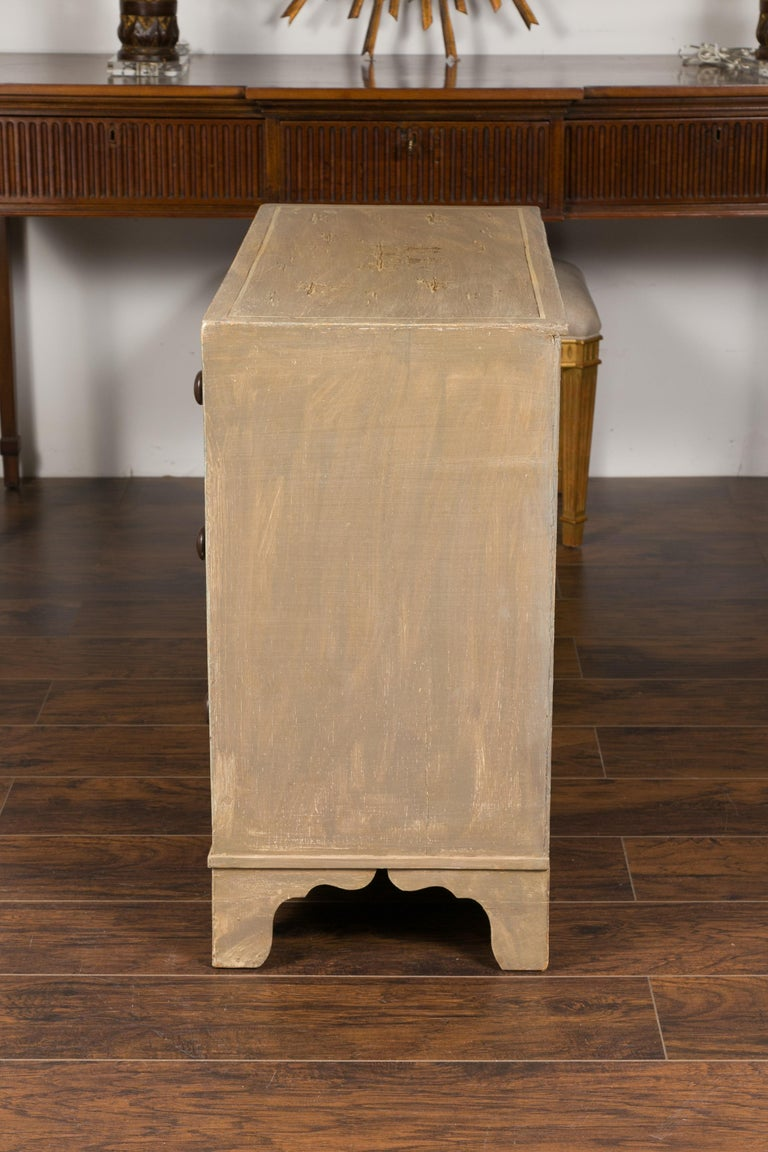 19th Century English 1860s Painted Chinoiserie Four-Drawer Chest with Ogee Bracket Feet For Sale