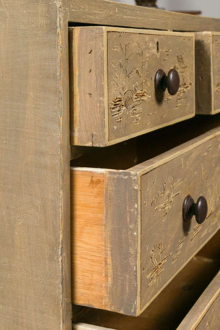 English 1860s Painted Chinoiserie Four-Drawer Chest with Ogee Bracket Feet For Sale 1