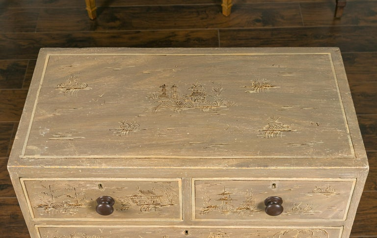 English 1860s Painted Chinoiserie Four-Drawer Chest with Ogee Bracket Feet For Sale 3