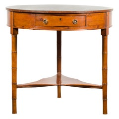 English 1860s Pine Center Table with Partitioned Drawer and Faux Bamboo Legs