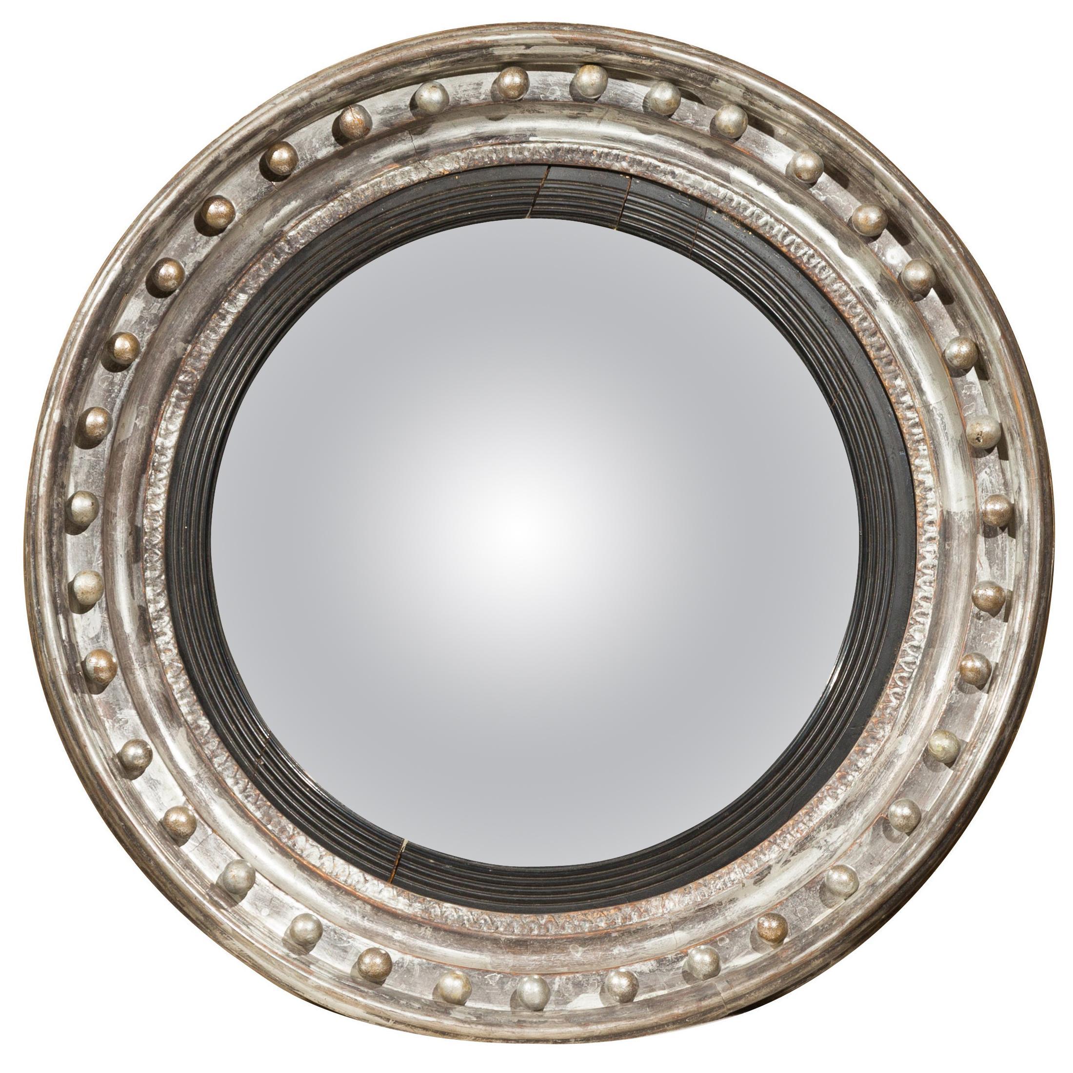 English 1860s Silver Leaf and Ebonized Wood Girandole Bull's-Eye Convex Mirror