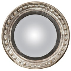 English 1860s Silver Leaf and Ebonized Wood Girandole Bull's-Eye Convex Mirror