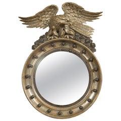 English 1860s Silver Leaf Convex Girandole Bullseye Mirror with Eagle Motif