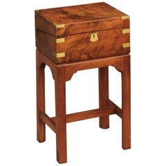 English 1860s Walnut Lap Desk Box on Custom Stand with Brass Accents and Leather