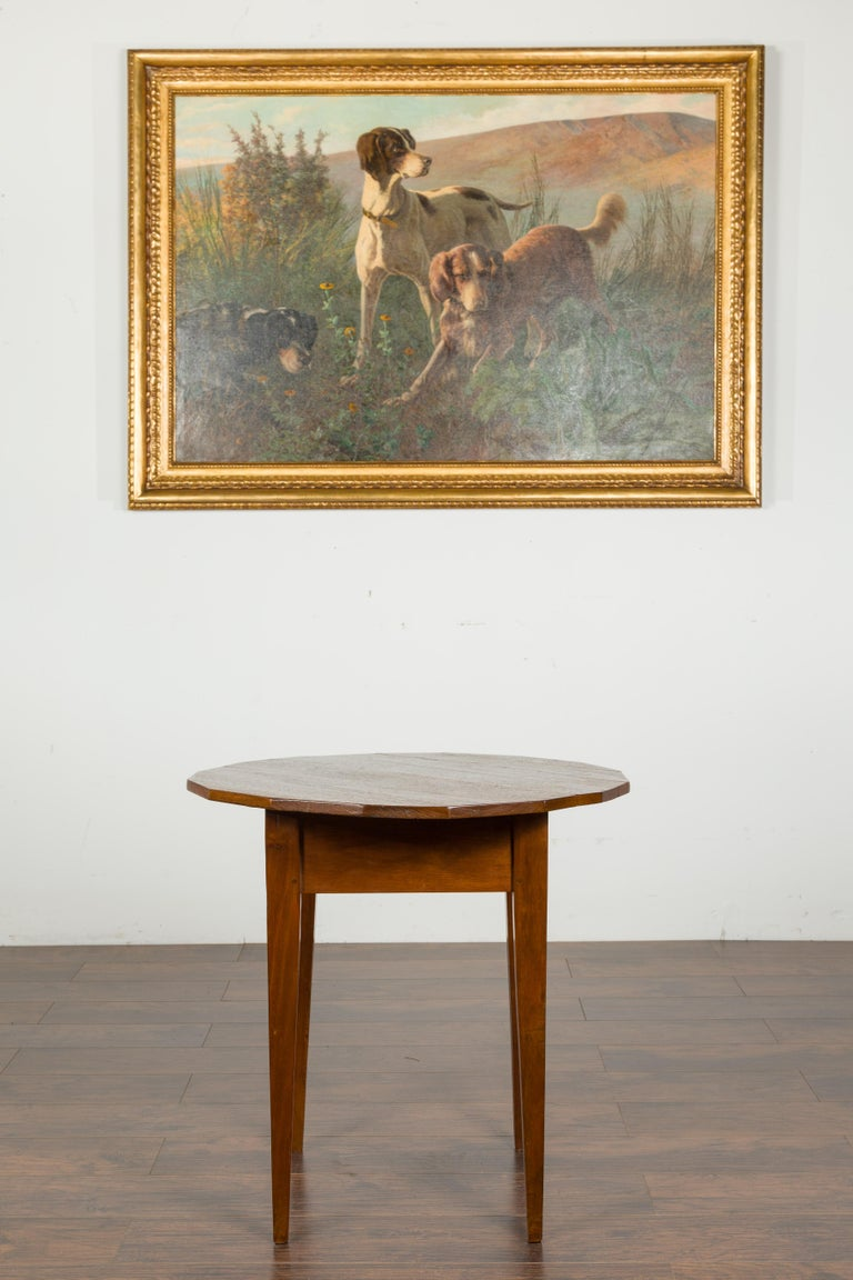 English 1860s Walnut Side Table with Polygonal Top and Tapered Legs In Good Condition For Sale In Atlanta, GA