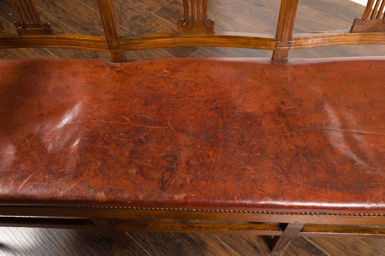 English 1860s Walnut Three-Seat Bench with Leather Seat and Carved Splats For Sale 9