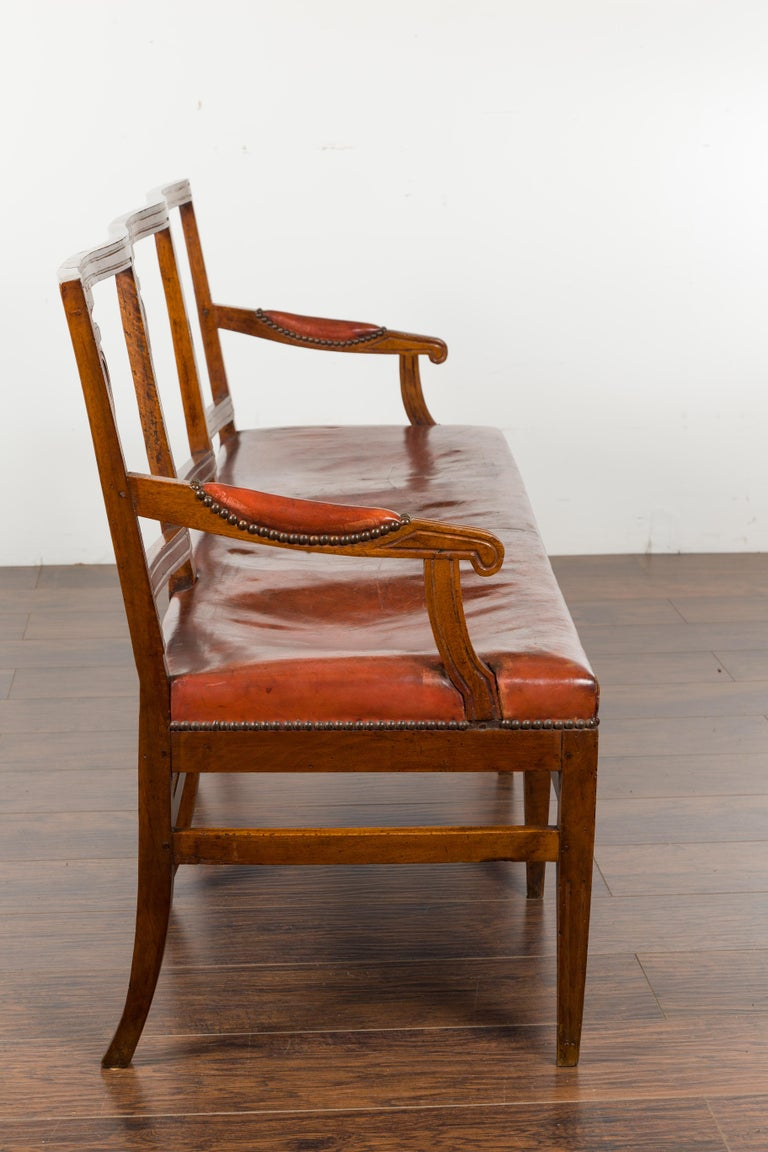 English 1860s Walnut Three-Seat Bench with Leather Seat and Carved Splats For Sale 11