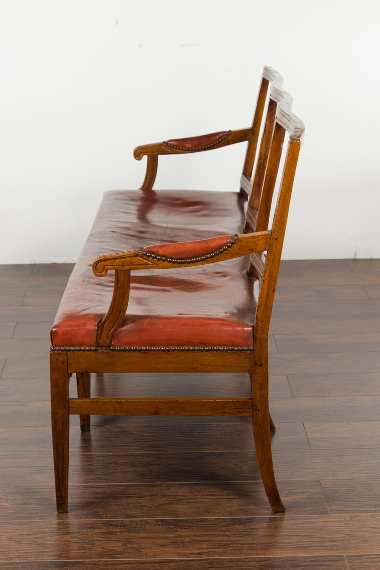 English 1860s Walnut Three-Seat Bench with Leather Seat and Carved Splats For Sale 13