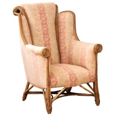 English 1860s Wicker Wingback Chair with Out-Scrolling Back and New Upholstery