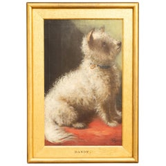 English 1861 Oil on Board Dog Painting Depicting Dandy Sitting on a Red Fabric