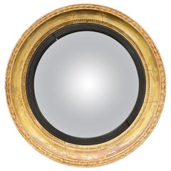 English 1870s Distressed Wood Convex Bullseye Mirror with Ebonized Accents