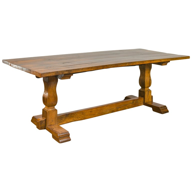 English 1870s Elm and Walnut Farm Table with Trestle Base and Baluster Legs For Sale