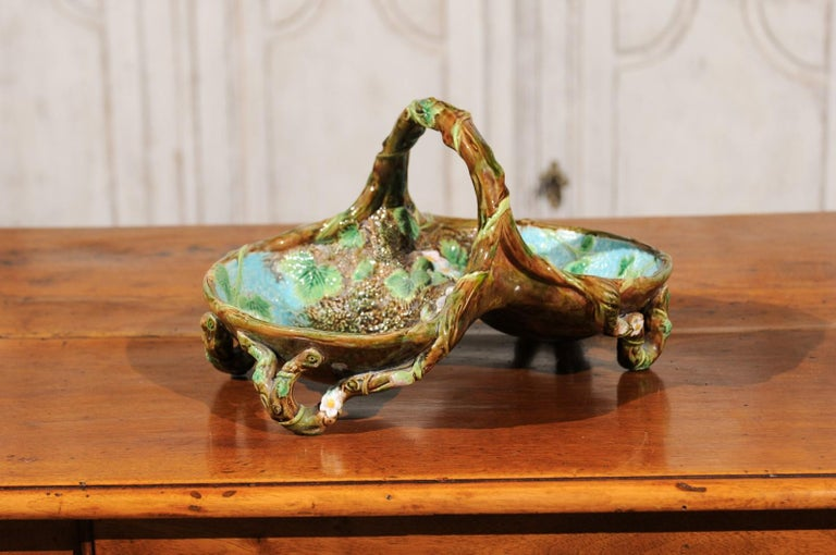 English 1870s George Jones Brown, Green and Turquoise Majolica Strawberry Basket For Sale 2
