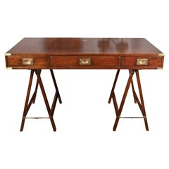 English 1870s Mahogany Campaign Desk with Movable Panel and Three Drawers