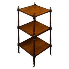 English 1870s Mahogany Three-Tiered Trolley with Turned Side Posts and Casters