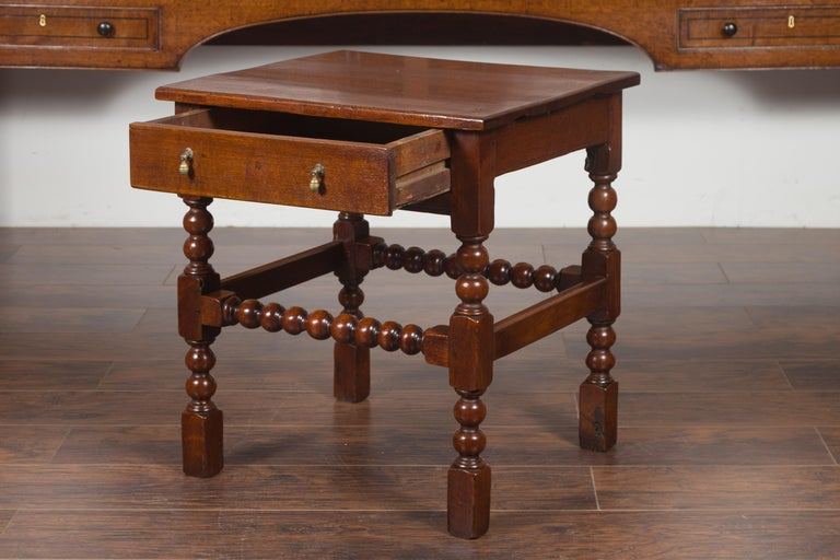 English 1870s Oak Bobbin Leg Side Table with Single Drawer and Stretchers For Sale 5