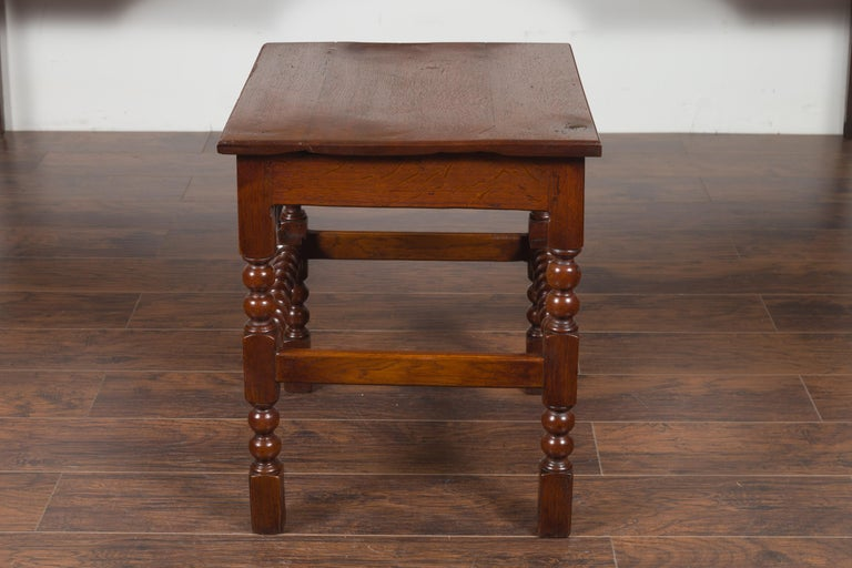 English 1870s Oak Bobbin Leg Side Table with Single Drawer and Stretchers For Sale 7