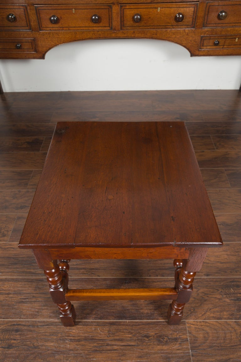 English 1870s Oak Bobbin Leg Side Table with Single Drawer and Stretchers For Sale 11