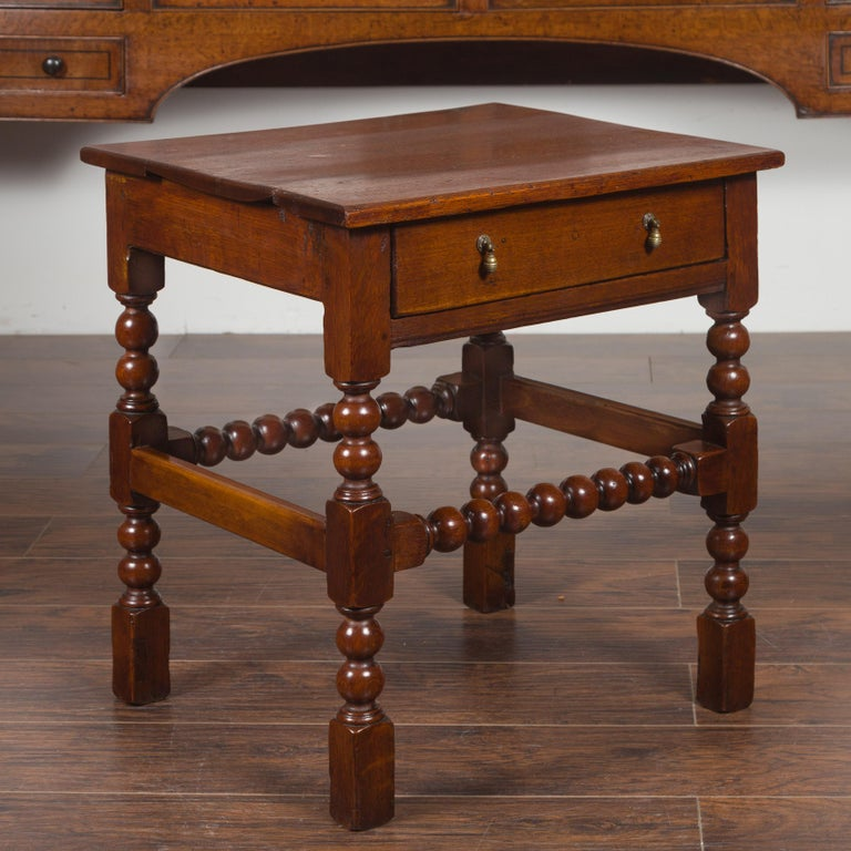 English 1870s Oak Bobbin Leg Side Table with Single Drawer and Stretchers For Sale 12